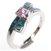 Silver Ring with Inlay Created Opal and Pink CZ