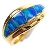 Silver Ring (Gold Plated) with Inlay Created Opal