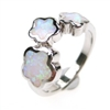 Silver Ring with Inlay Created Opal and White CZ