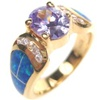 Silver Ring (Gold Plated) with Inlay Created Opal and Tanzanite CZ