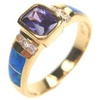 Silver Ring (Gold Plated) Inlay Created Opal, White & Tanzanite CZ