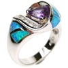 Silver Ring (Rhodium Plated) w/ Inlay Created Opal, White & Amethyst CZ