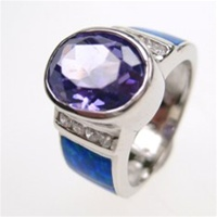 Silver Ring w/ Inlay Created Opal & White & Tanzanite CZ