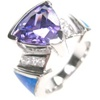 Silver Ring with Inlay Created Opal, White and Tanzanite CZ