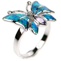 Silver Ring (Rhodium Plated) w/ Inlay Created Opal & Amethyst CZ