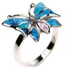 Silver Ring (Rhodium Plated) w/ Inlay Created Opal & Pink CZ