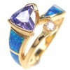 Silver Ring (Gold Plated) Inlay Created Opal, White and Tanzanite CZ