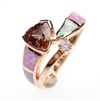 Silver Ring (Rose Gold Plated) with Inlay Created Opal, White and Smoky Topaz CZ