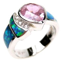 Silver Ring (Rhodium Plated) w/ Inlay Created Opal, White & Pink CZ