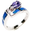 Silver Ring (Rhodium Plated) w/ Inlay Created Opal, White & Tanzanite CZ