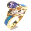 Silver Ring (Gold Plated) with Inlay Created Opal, White & Tanzanite CZ