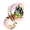 Silver Ring (Rose Gold Plated) with Inlay Created Opal, White and Dark Olive CZ