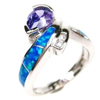 Silver Ring with Inlay Created Opal, White & Tanzanite CZ