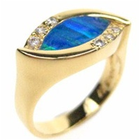 Silver Ring (Gold Plated) w/ Inlay Created Opal & White CZ
