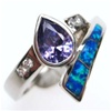 Silver Ring W/ Inlay Created Opal, White & Tanzanite CZ.