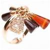 Silver Ring (Rose Gold Plated) w/ White CZ, Amber, Agate & Carnelian (Cone Cut)