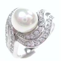 Silver Ring W/ Fresh Water Pearl And White CZ
