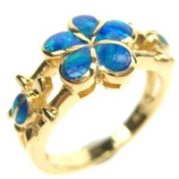 Silver Ring (Gold Plated) w/ Inlay Created Opal