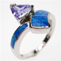 Silver Ring with Inlay Created Opal and Tanzanite CZ