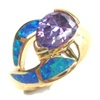 Silver Ring with Inlay Created Opal, & Tanzanite CZ
