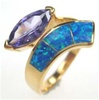 Silver Ring with Inlay Created Opal & Tanzanite CZ