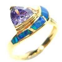 Silver Ring (Gold Plated) W/ Inlay Created Opal, White & Tanzanite CZ