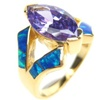 Silver Ring (Gold Plated) with Inlay Created Opal, White and Tanzanite CZ