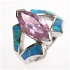 Silver Ring W/ Inlay Created Opal and Pink CZ