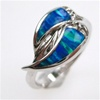 Silver Ring w/ Inlay Created Opal