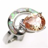 Silver Ring w/ Inlay Created Opal & Dark Champagne CZ