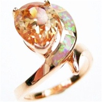 Silver Ring (Rose Gold Plated) with Inlay Created Opal and Champagne CZ