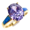 Silver Ring (Gold Plated) with Inlay Created Opal & Tanzanite CZ