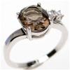 Silver Ring (Rhodium Plated) w/ Inlay Created Opal, White & Smoky Topaz CZ