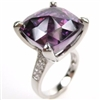 Silver Ring with White and Amethyst CZ