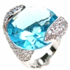 Silver Ring with Blue Topaz Crystal