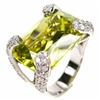 Silver Ring with White and Light Olive CZ