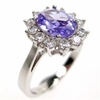 Silver Ring (Rhodium Plated) w/ White & Tanzanite CZ