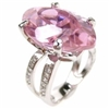 Silver Ring with White and Pink CZ