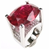 Silver Ring with White and Ruby CZ