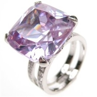 Silver Ring with White and Lavender CZ