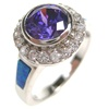 Silver Ring W/ Inlay Created Opal and Tanzanite and White CZ