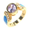 Silver Ring W/ Inlay Created Opal, White & Tanzanite CZ