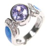 Silver Ring W/ Inlay Created Opal & Tanzanite + White CZ