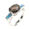 Silver Ring with Inlay Created Opal and Smoky Topaz CZ