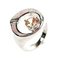 Silver Ring (Rhodium Plated) w/ Inlay Created Opal, Champagne & White CZ