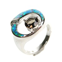 Silver Ring (Rhodium Plated) w/ Inlay Created Opal & Smoky Topaz CZ