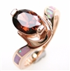 Silver Ring (Rose Gold Plated) with Inlay Created Opal and Smoky Topaz CZ