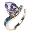 Silver Ring w/ Inlay Created Opal & Tanzanite CZ