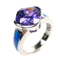 Silver Ring (Rhodium Plated) w/ Inlay Created Opal & Tanzanite CZ