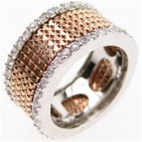 Silver Ring (Rose Gold & Rhodium Plated) W/ White CZ